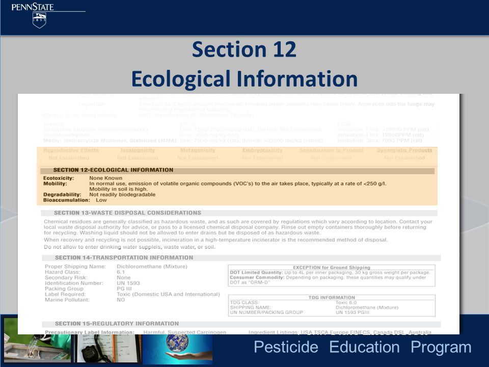 Pesticide Education Program Section 12 Ecological Information