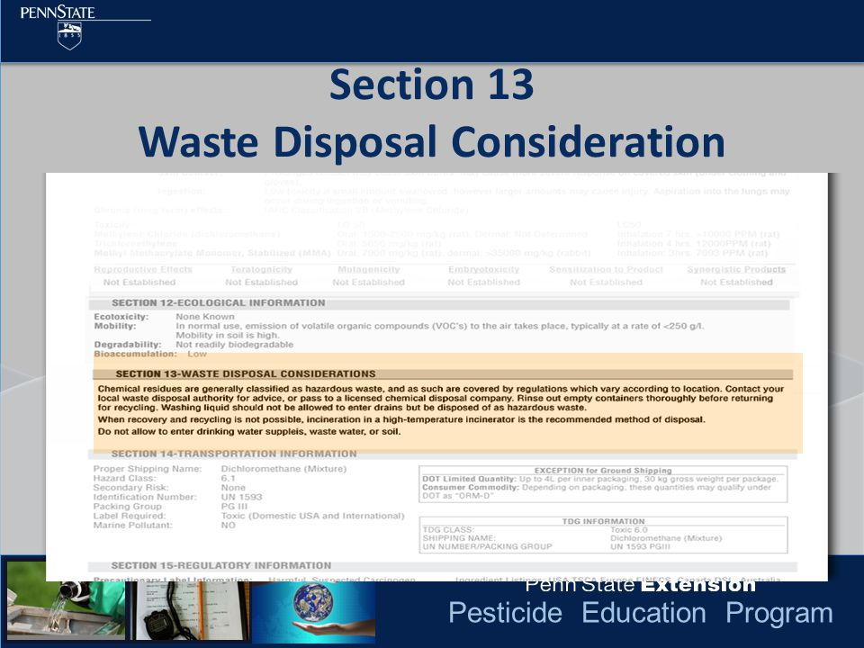 Pesticide Education Program Section 13 Waste Disposal Consideration