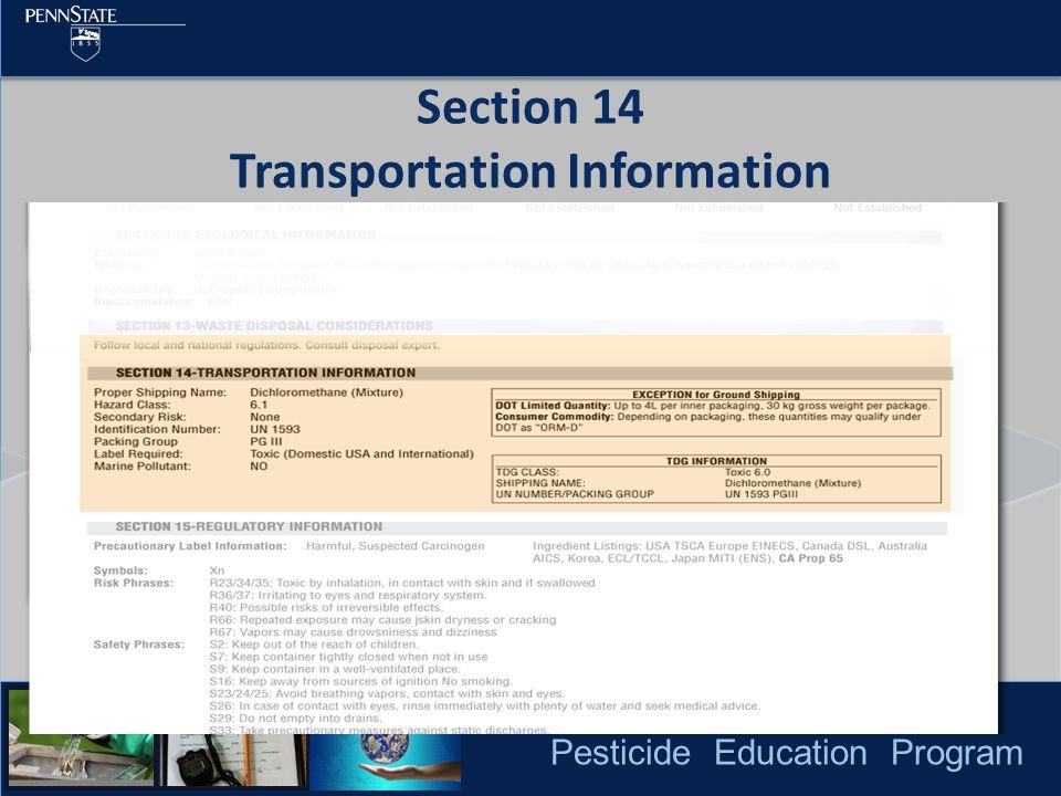 Pesticide Education Program Section 14 Transportation Information