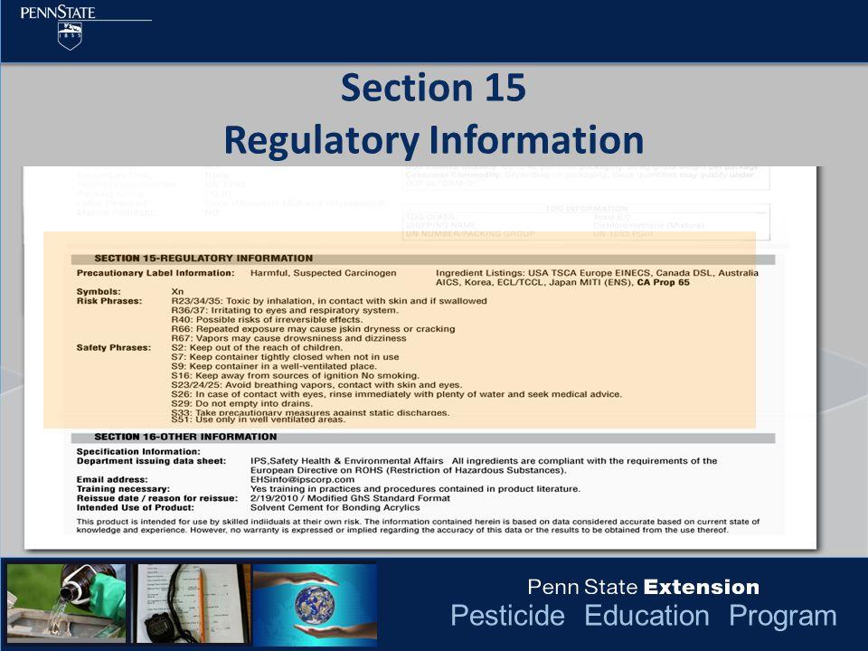 Pesticide Education Program Section 15 Regulatory Information