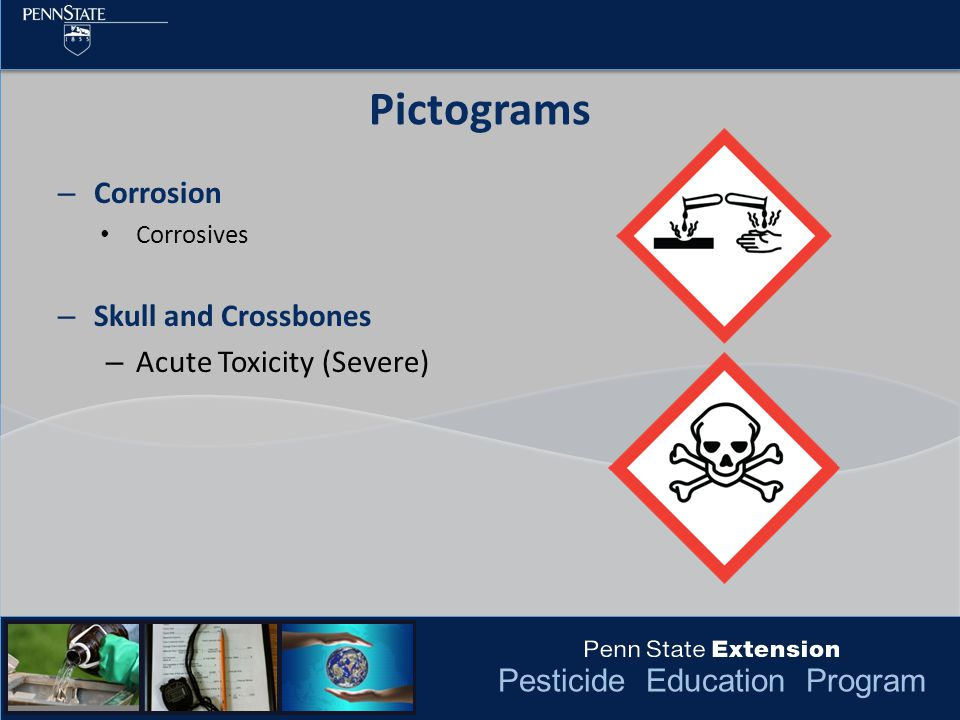 Pesticide Education Program Pictograms – Corrosion Corrosives – Skull and Crossbones – Acute Toxicity (Severe)