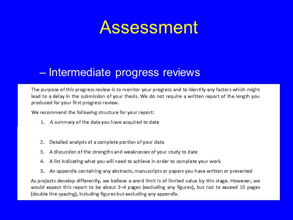 Assessment –Intermediate progress reviews