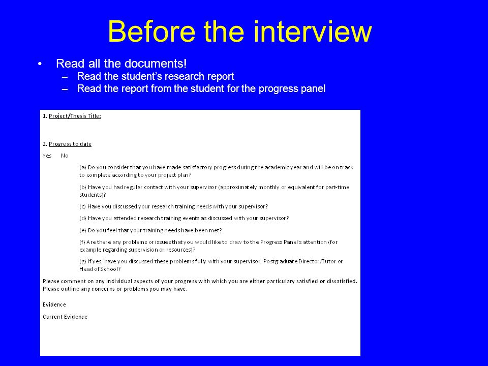 Before the interview Read all the documents! –Read the student's research report –Read the report from the student for the progress panel