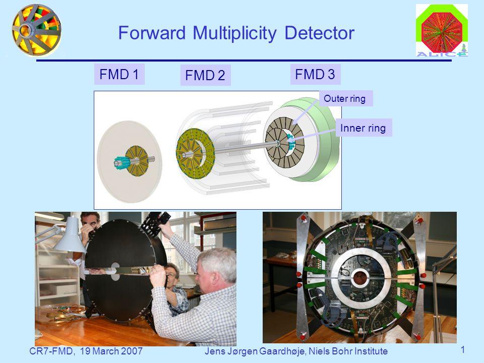 CR7-FMD, 19 March 2007Jens Jørgen Gaardhøje, Niels Bohr Institute 1 Forward Multiplicity Detector FMD 1 FMD 3 FMD 2 Outer ring Inner ring