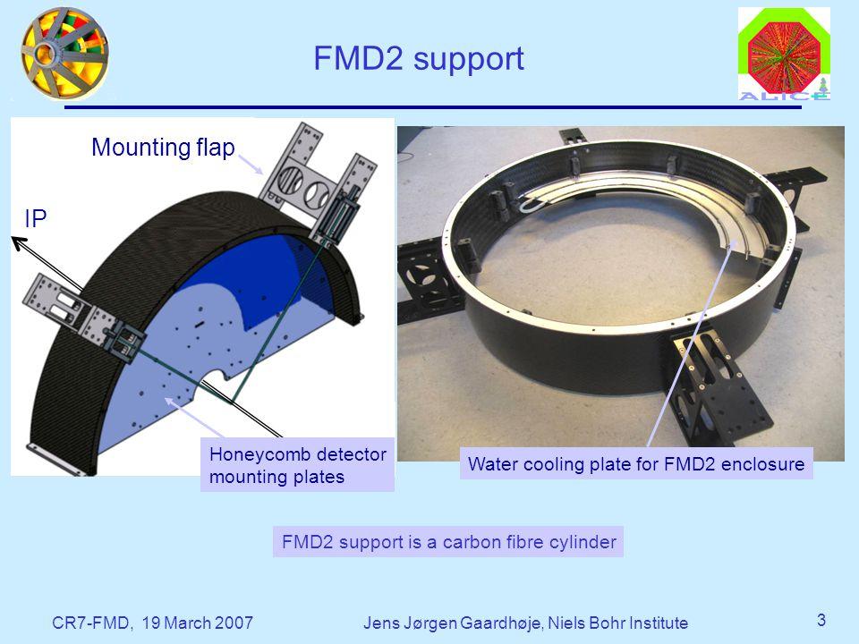 CR7-FMD, 19 March 2007Jens Jørgen Gaardhøje, Niels Bohr Institute 3 FMD2 support IP FMD2 support is a carbon fibre cylinder Mounting flap Honeycomb detector mounting plates Water cooling plate for FMD2 enclosure