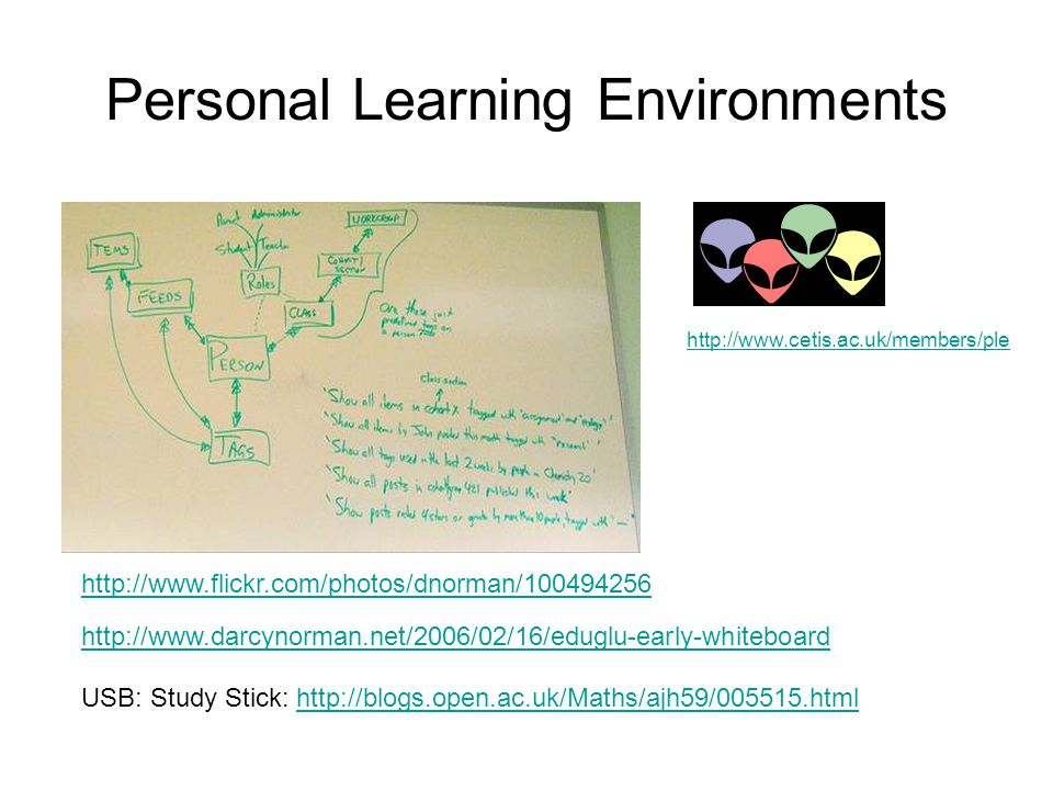 Personal Learning Environments http://www.cetis.ac.uk/members/ple http://www.flickr.com/photos/dnorman/100494256 http://www.darcynorman.net/2006/02/16/eduglu-early-whiteboard USB: Study Stick: http://blogs.open.ac.uk/Maths/ajh59/005515.htmlhttp://blogs.open.ac.uk/Maths/ajh59/005515.html