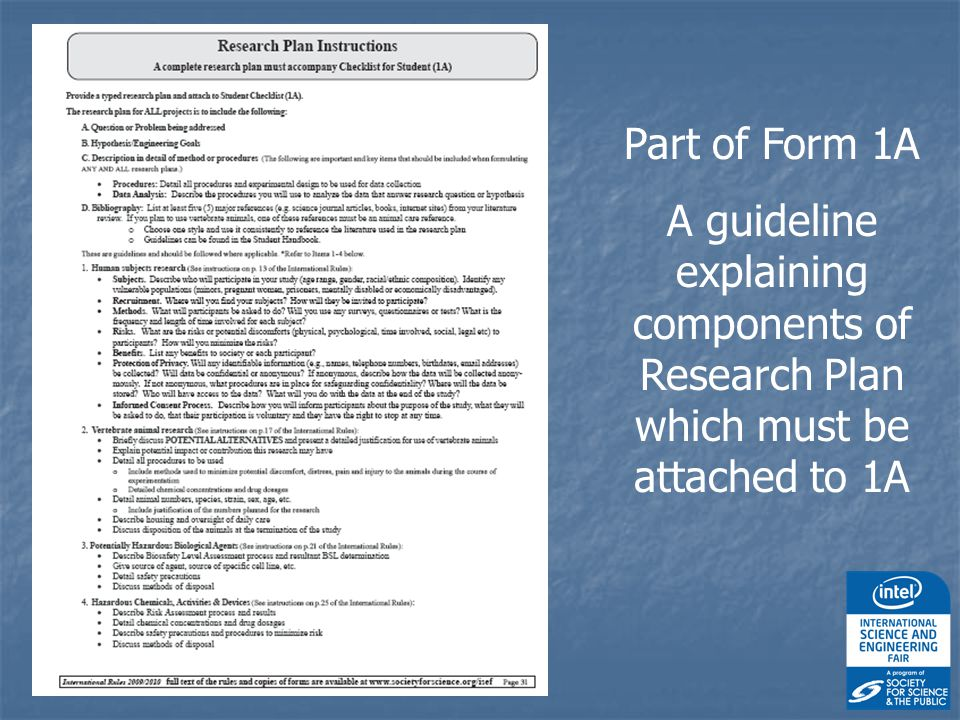Part of Form 1A A guideline explaining components of Research Plan which must be attached to 1A