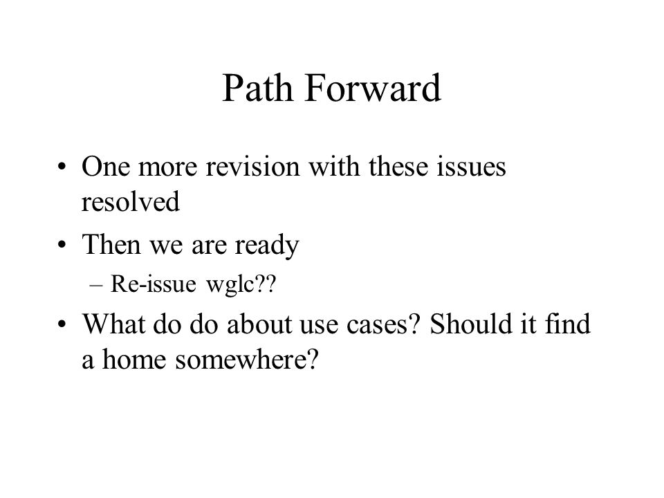 Path Forward One more revision with these issues resolved Then we are ready –Re-issue wglc .
