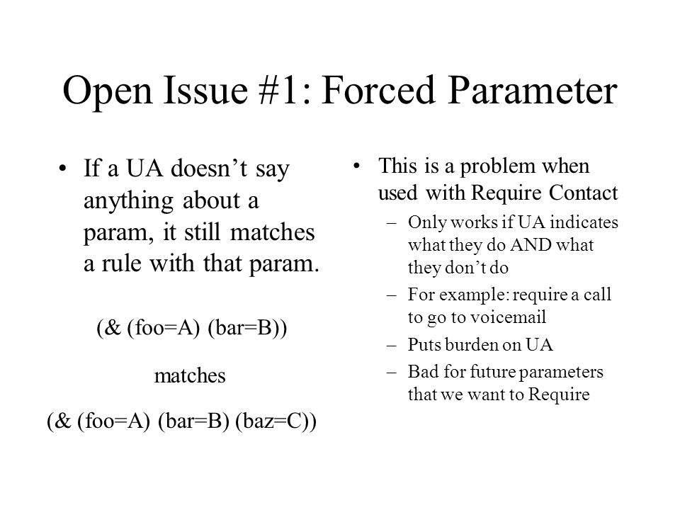 Open Issue #1: Forced Parameter If a UA doesn't say anything about a param, it still matches a rule with that param. This is a problem when used with