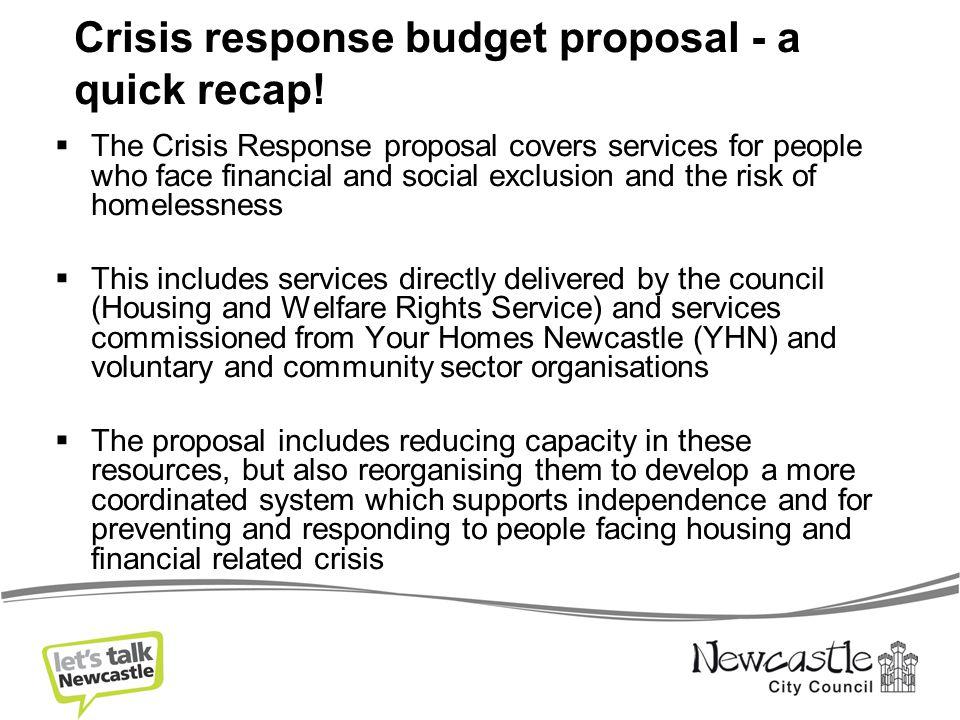 Crisis response budget proposal - a quick recap.