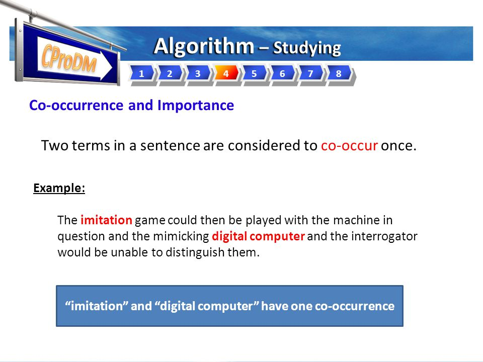 Algorithm – Studying 12345678 Two terms in a sentence are considered to co-occur once.
