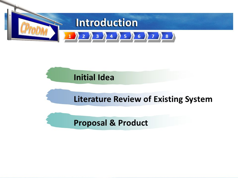 Introduction Initial IdeaLiterature Review of Existing SystemProposal & Product 12345678
