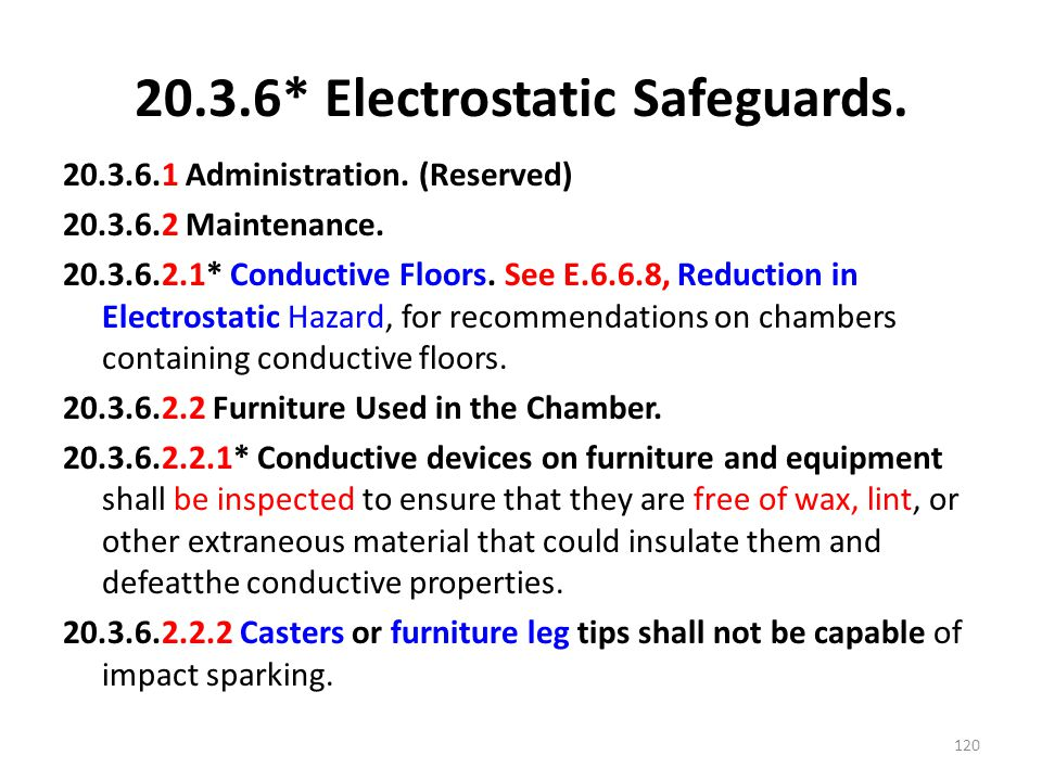20.3.6* Electrostatic Safeguards. 20.3.6.1 Administration. (Reserved) 20.3.6.2 Maintenance. 20.3.6.2.1* Conductive Floors. See E.6.6.8, Reduction in E