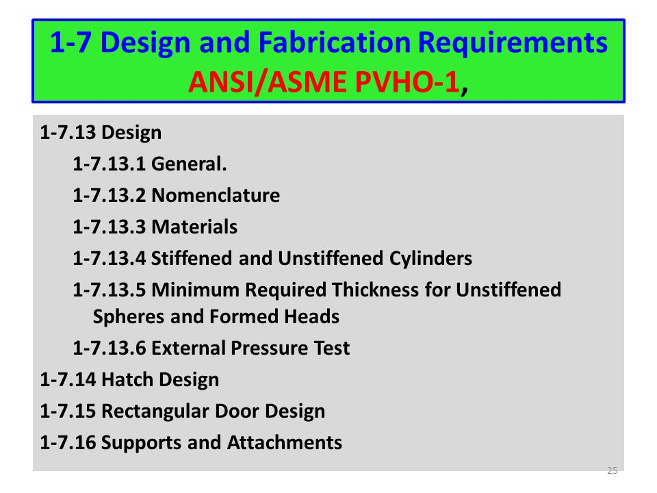 1-7 Design and Fabrication Requirements ANSI/ASME PVHO-1, 1-7.13 Design 1-7.13.1 General. 1-7.13.2 Nomenclature 1-7.13.3 Materials 1-7.13.4 Stiffened