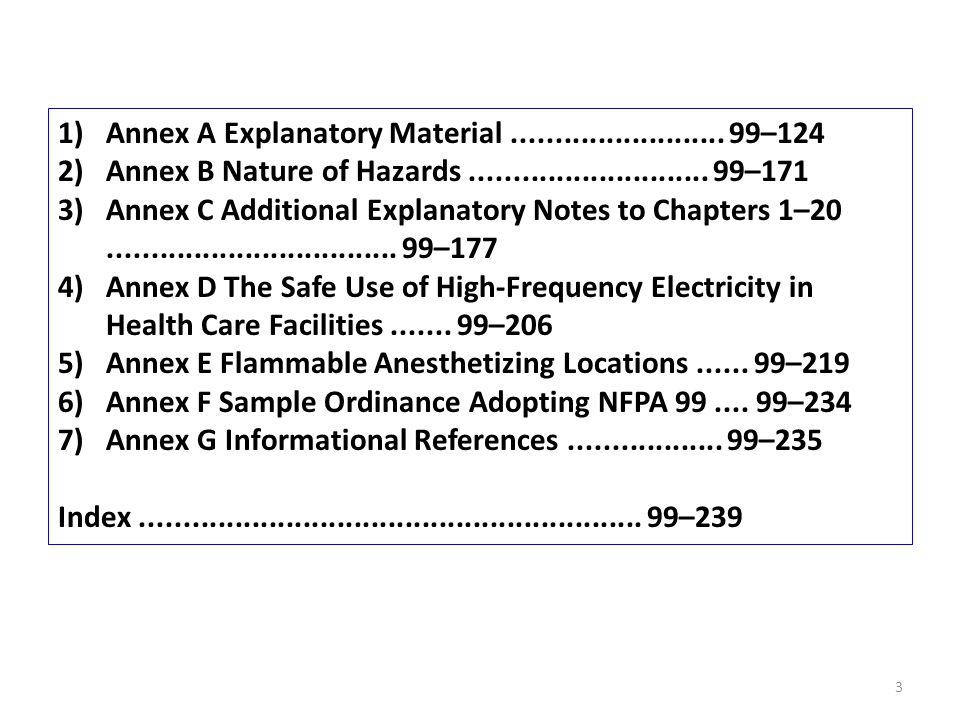 1)Annex A Explanatory Material......................... 99–124 2)Annex B Nature of Hazards............................ 99–171 3)Annex C Additional Exp