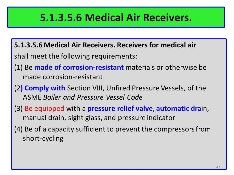 5.1.3.5.6 Medical Air Receivers. 5.1.3.5.6 Medical Air Receivers. Receivers for medical air shall meet the following requirements: (1) Be made of corr