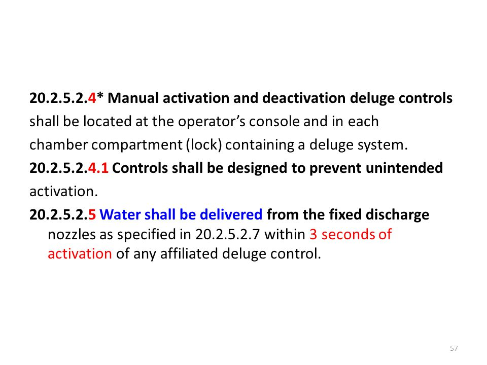 20.2.5.2.4* Manual activation and deactivation deluge controls shall be located at the operator's console and in each chamber compartment (lock) conta