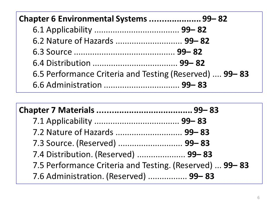 Chapter 6 Environmental Systems..................... 99– 82 6.1 Applicability..................................... 99– 82 6.2 Nature of Hazards.......