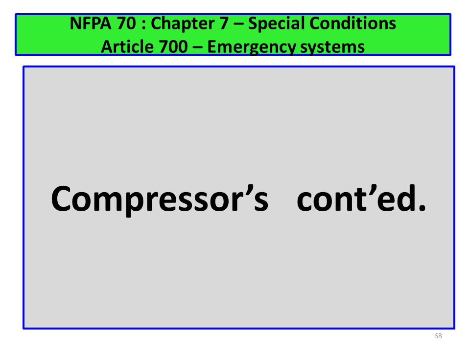 NFPA 70 : Chapter 7 – Special Conditions Article 700 – Emergency systems Compressor's cont'ed. 68