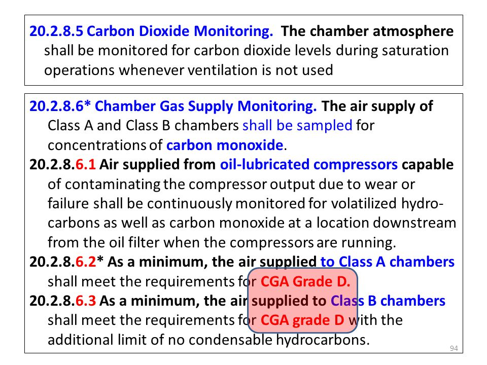 20.2.8.5 Carbon Dioxide Monitoring. The chamber atmosphere shall be monitored for carbon dioxide levels during saturation operations whenever ventilat