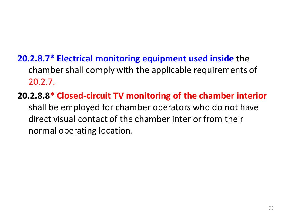 20.2.8.7* Electrical monitoring equipment used inside the chamber shall comply with the applicable requirements of 20.2.7. 20.2.8.8* Closed-circuit TV