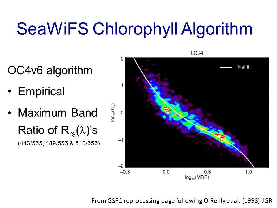 SeaWiFS Chlorophyll Algorithm OC4v6 algorithm Empirical Maximum Band Ratio of R rs ( )'s (443/555, 489/555 & 510/555) From GSFC reprocessing page following O'Reilly et al.