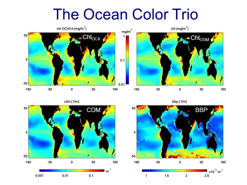 The Ocean Color Trio Chl OC4 Chl GSM CDMBBP