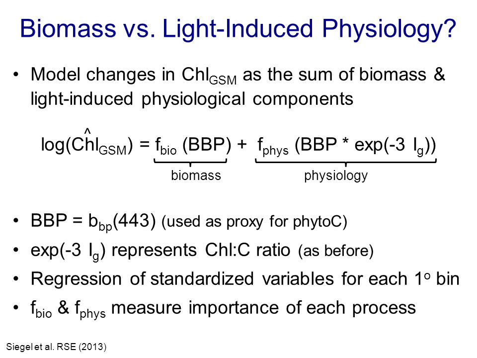 Biomass vs. Light-Induced Physiology.