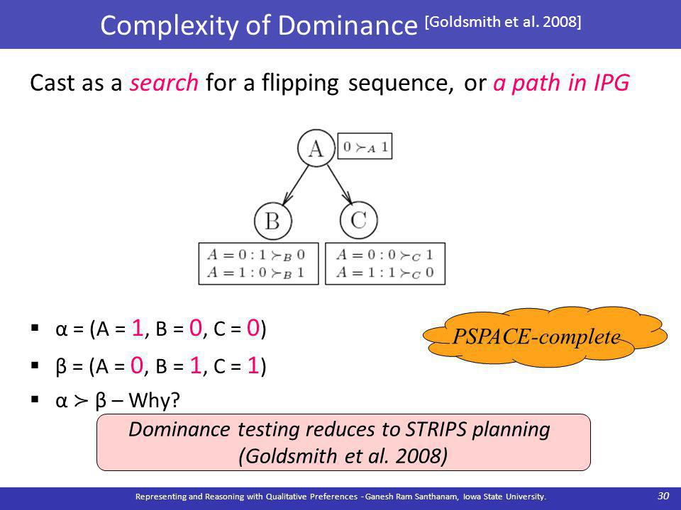 Complexity of Dominance [Goldsmith et al.