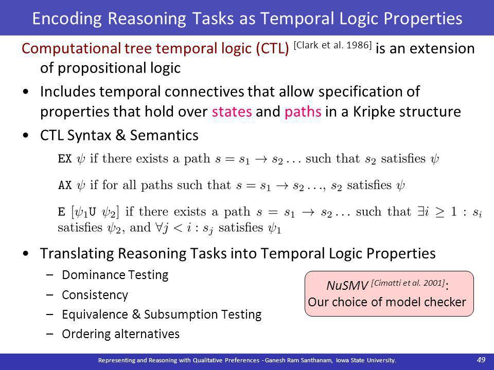 Encoding Reasoning Tasks as Temporal Logic Properties Computational tree temporal logic (CTL) [Clark et al.