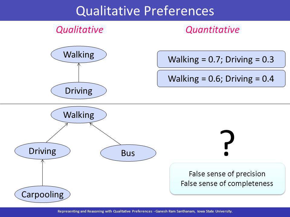 Qualitative Preferences Walking Driving Bus Carpooling QualitativeQuantitative .