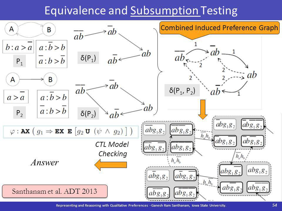Equivalence and Subsumption Testing Representing and Reasoning with Qualitative Preferences - Ganesh Ram Santhanam, Iowa State University.