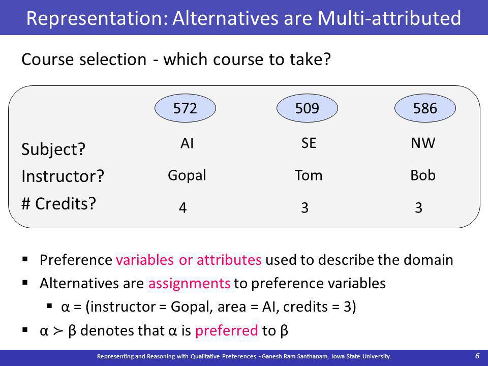 Representation: Alternatives are Multi-attributed Course selection - which course to take.