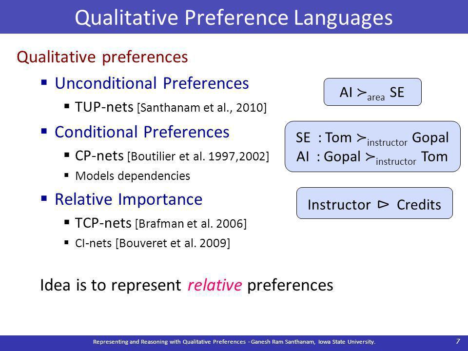 Qualitative Preference Languages Qualitative preferences  Unconditional Preferences  TUP-nets [Santhanam et al., 2010]  Conditional Preferences  CP-nets [Boutilier et al.