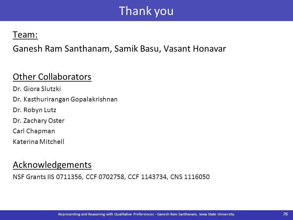 Thank you Team: Ganesh Ram Santhanam, Samik Basu, Vasant Honavar Other Collaborators Dr.
