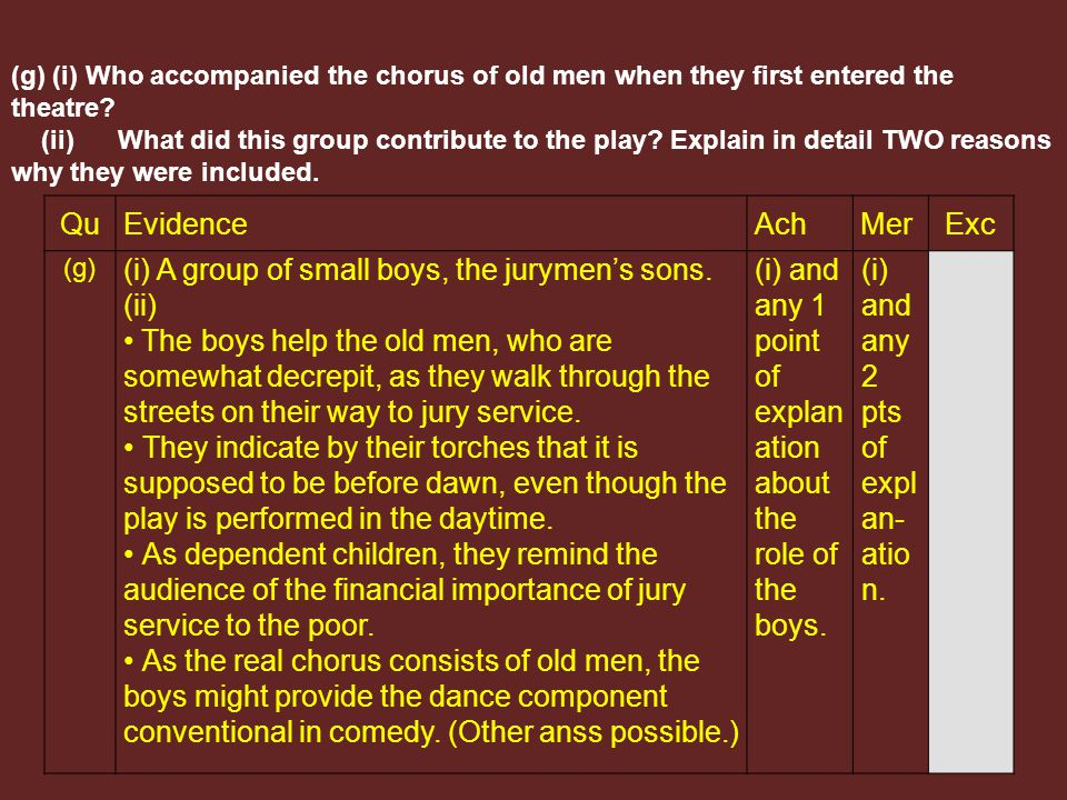 QuEvidenceAchMerExc (g) (i) A group of small boys, the jurymen's sons.
