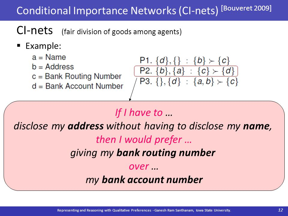 Conditional Importance Networks (CI-nets) [Bouveret 2009] CI-nets (fair division of goods among agents)  Example: Representing and Reasoning with Qualitative Preferences - Ganesh Ram Santhanam, Iowa State University.