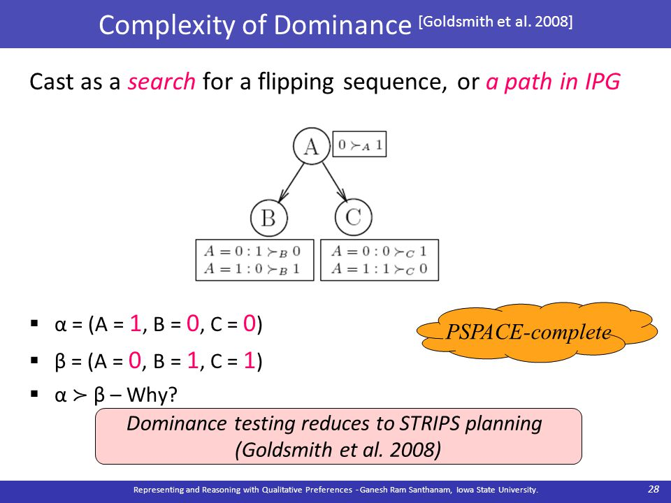 Complexity of Dominance [Goldsmith et al. 2008] Cast as a search for a flipping sequence, or a path in IPG  α = (A = 1, B = 0, C = 0 )  β = (A = 0,