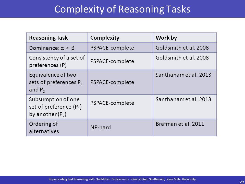 Complexity of Reasoning Tasks Representing and Reasoning with Qualitative Preferences - Ganesh Ram Santhanam, Iowa State University. 29 Reasoning Task