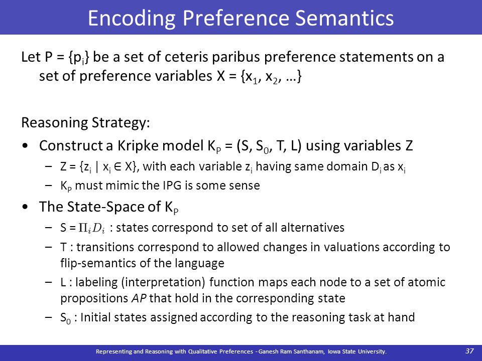 Encoding Preference Semantics Representing and Reasoning with Qualitative Preferences - Ganesh Ram Santhanam, Iowa State University. 37 Let P = {p i }