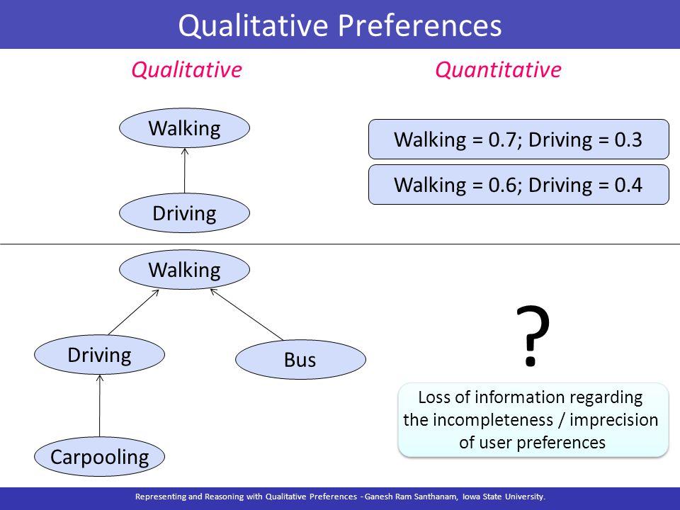 Qualitative Preferences Walking Driving Bus Carpooling QualitativeQuantitative ? Walking = 0.7; Driving = 0.3 Walking = 0.6; Driving = 0.4 Walking Dri