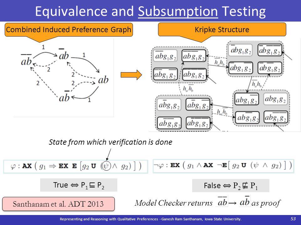 Equivalence and Subsumption Testing Representing and Reasoning with Qualitative Preferences - Ganesh Ram Santhanam, Iowa State University. 53 Santhana