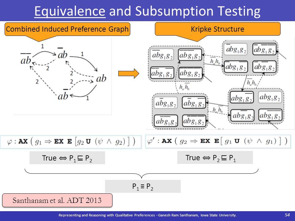 Equivalence and Subsumption Testing Representing and Reasoning with Qualitative Preferences - Ganesh Ram Santhanam, Iowa State University. 54 Santhana