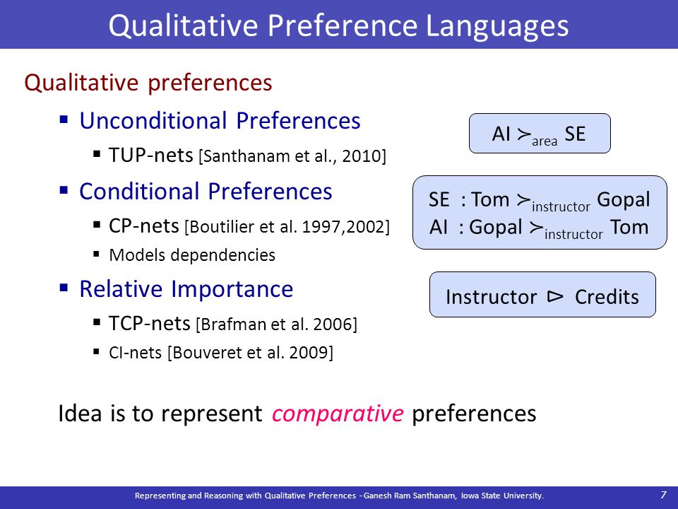 Qualitative Preference Languages Qualitative preferences  Unconditional Preferences  TUP-nets [Santhanam et al., 2010]  Conditional Preferences  C