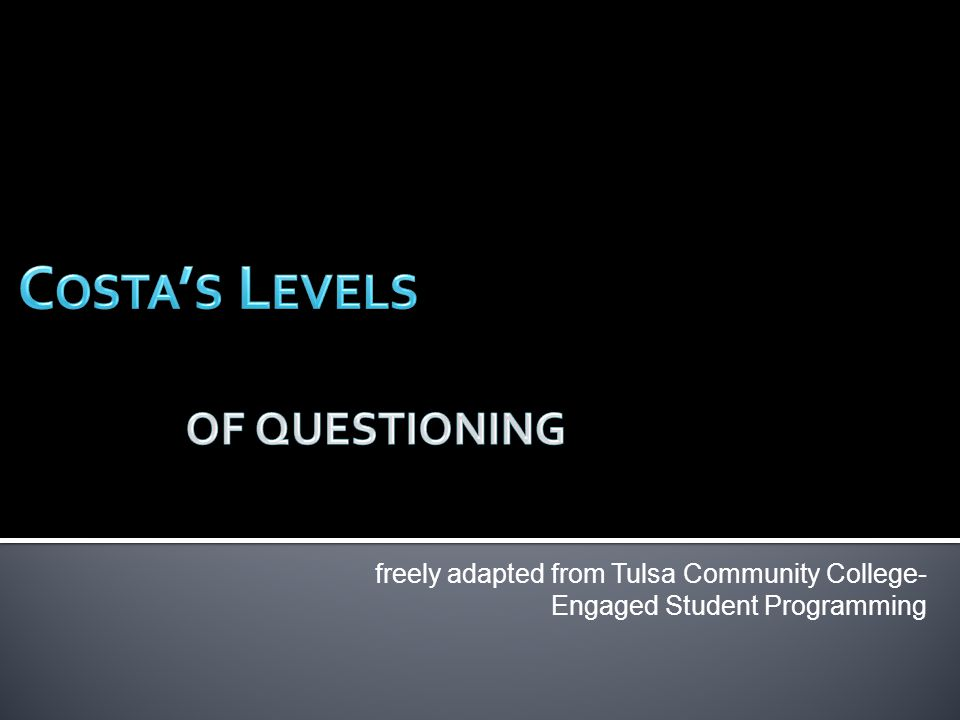 ? freely adapted from Tulsa Community College- Engaged Student Programming