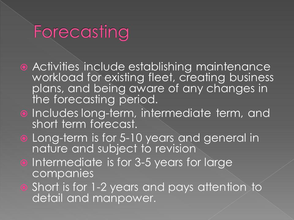  Activities include establishing maintenance workload for existing fleet, creating business plans, and being aware of any changes in the forecasting