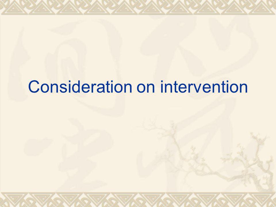 Consideration on intervention