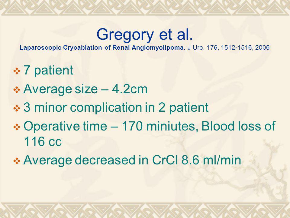Gregory et al. Laparoscopic Cryoablation of Renal Angiomyolipoma.
