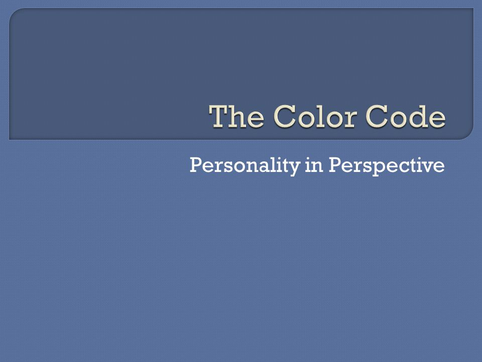 Your personality type is driven by only ONE of four Core Motives, represented by the colors: RED (Core Motive = Power, or the ability to move from a to b as efficiently as possible) BLUE (Core Motive = Intimacy, this doesn't mean sex, but the need to connect, share feelings, and build relationships with others) WHITE (Core Motive = Peace, or calm even in the midst of conflict; clarity in the midst of confusion) YELLOW (Core Motive = Fun, or always enjoying the moment)
