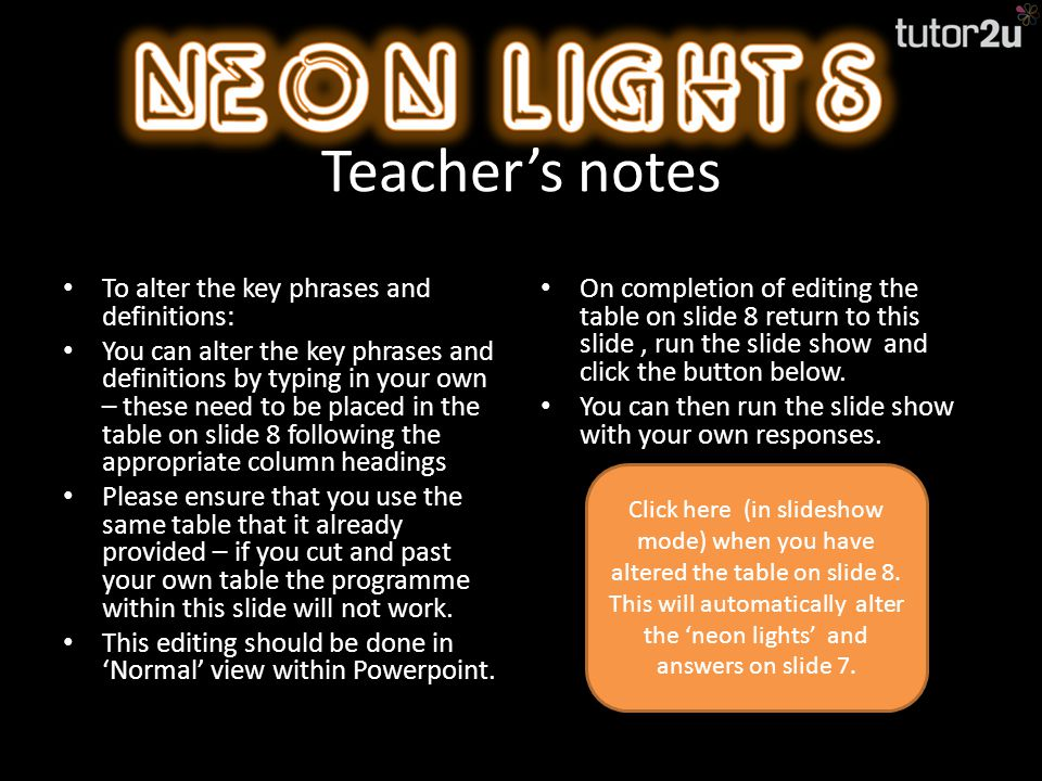 Teacher's notes The purpose of this activity is to test the recall of key phrases within your curriculum.